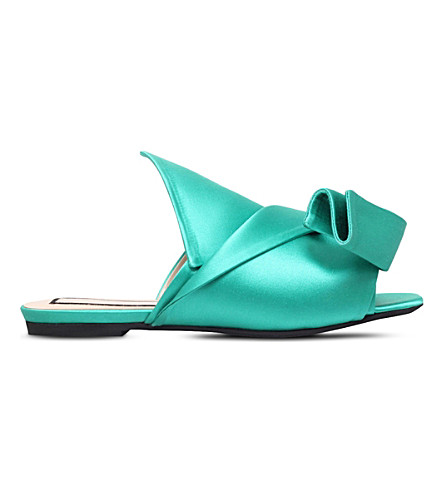 NO 21 Bow satin slippers (Green