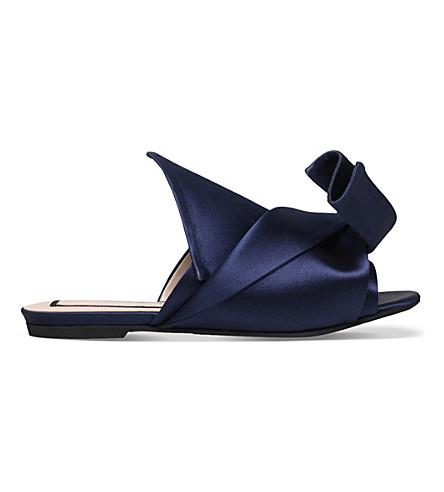 NO 21 Bow satin slippers (Navy