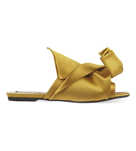 NO 21 Satin bow slippers (Mustard
