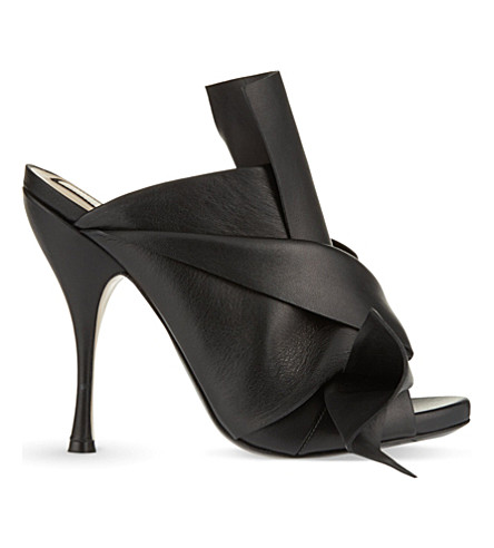 NO 21 Bow heeled mule sandals (Black
