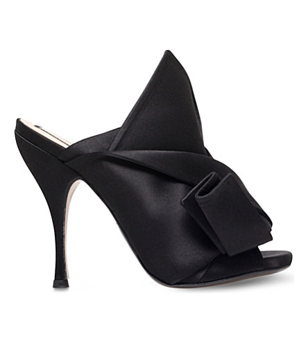 NO 21 Bow satin heeled mule sandals (Black