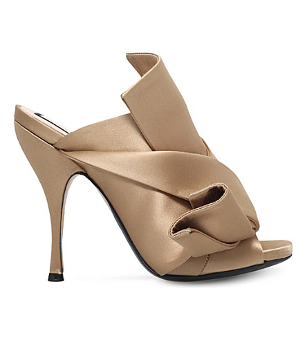 NO 21 Bow-detail satin mules (Camel/oth