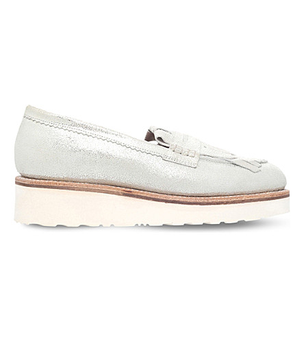 GRENSON Juno metallic leather loafers (Silver