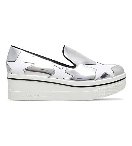 STELLA MCCARTNEY Binx star-detail metallic flatforms (Silver