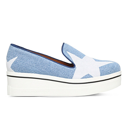 STELLA MCCARTNEY Binx canvas flatform sneakers (Denim