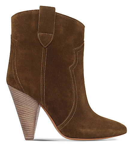ISABEL MARANT ETOILE Roxann suede heeled ankle boots (Mid+brown
