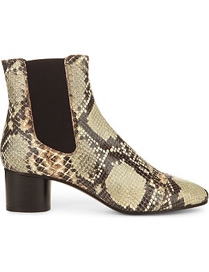 ISABEL MARANT Danae snakeskin-print leather ankle boots