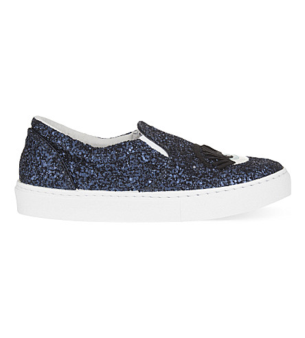 CHIARA FERRAGNI Eye-appliqué glitter-embellished skate shoes (Navy