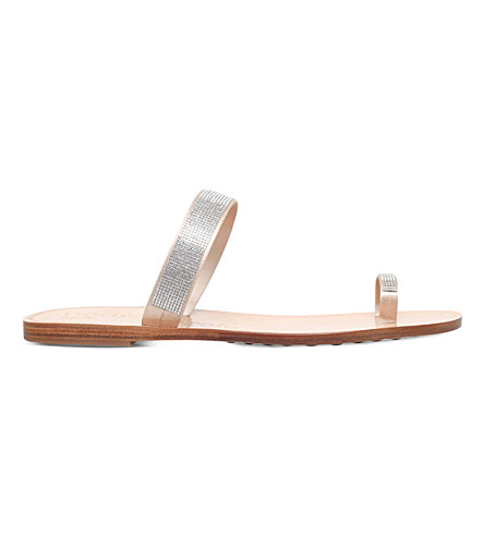 PEDRO GARCIA Zarina embellished satin and leather flat sandals (Nude