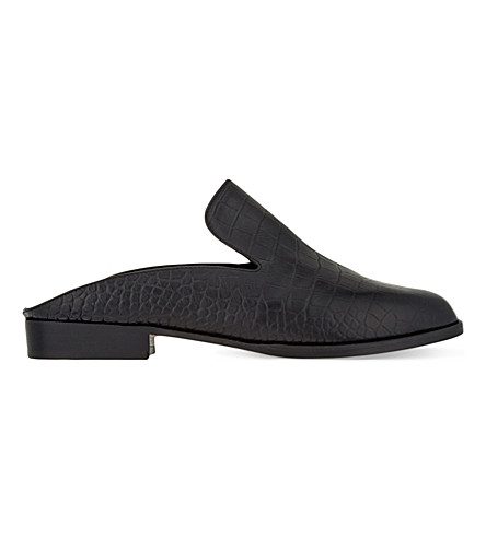 ROBERT CLERGERIE Alice K crocodile-embossed leather flats (Black