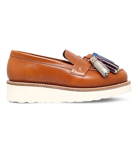 GRENSON Clara leather faltform loafers (Tan