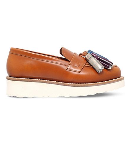 GRENSON Clara leather faltform loafers (Tan