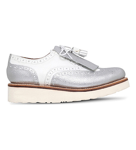 GRENSON Emily leather flatform brogues (White/oth