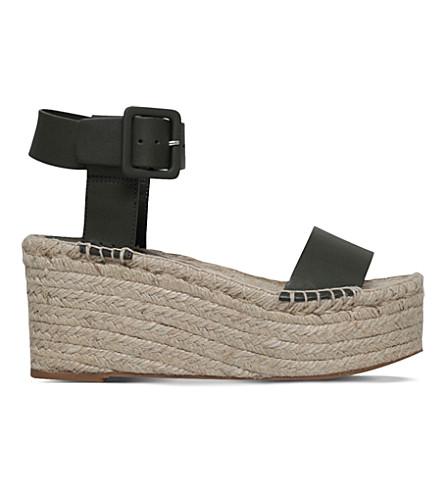 9ef579d28836 VINCE Abby leather wedge sandals (Khaki