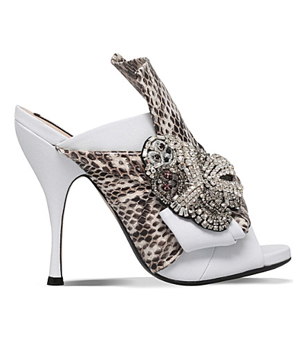 NO 21 Bow snakeskin and leather heeled mule sandals (White/oth
