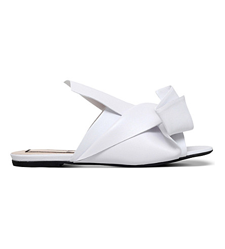 NO 21 Bow leather slippers (White