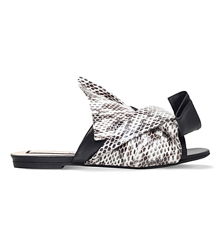 NO 21 Bow snakeskin and leather slippers (Blk/other