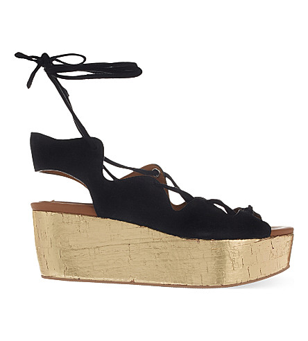 SEE BY CHLOE Crosta suede wedge sandals (Black