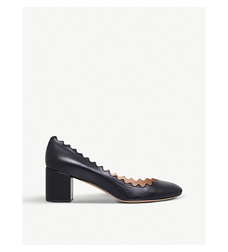 CHLOE Elf 50 scalloped leather courts (Black