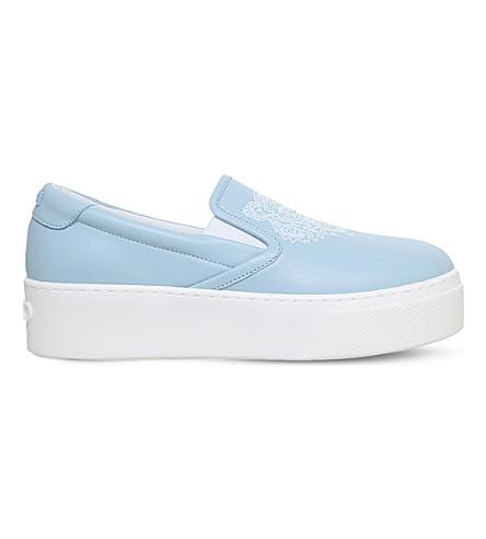 KENZO K-Py tiger-embossed leather flatform skate shoes (Pale blue