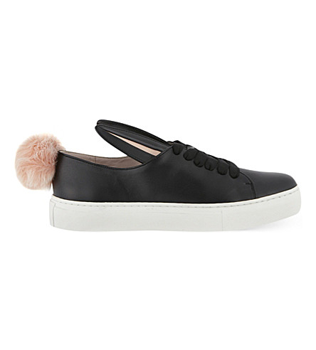 MINNA PARIKKA Tail leather and faux-fur trainers (Blk/white