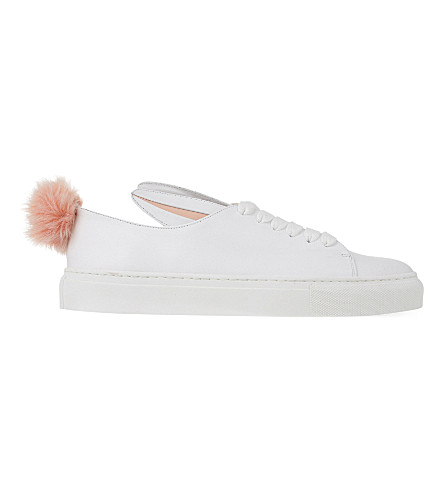 MINNA PARIKKA Tail leather and faux-fur trainers (White