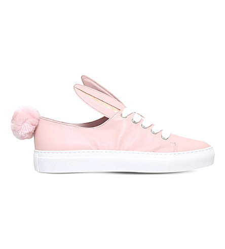 MINNA PARIKKA Tail leather and faux-fur trainers (Pink