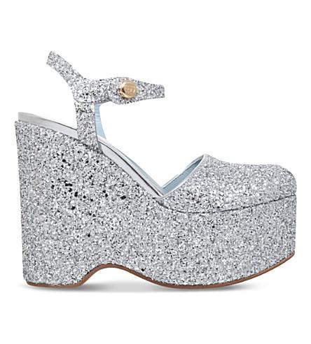 CHIARA FERRAGNI MJ glitter-embellished wedge sandals (Silver