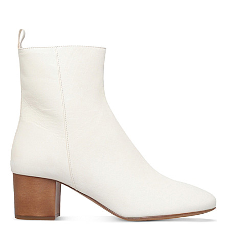 ISABEL MARANT Drew leather ankle boots (White
