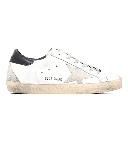 GOLDEN GOOSE Super star suede and leather trainers (White/blk