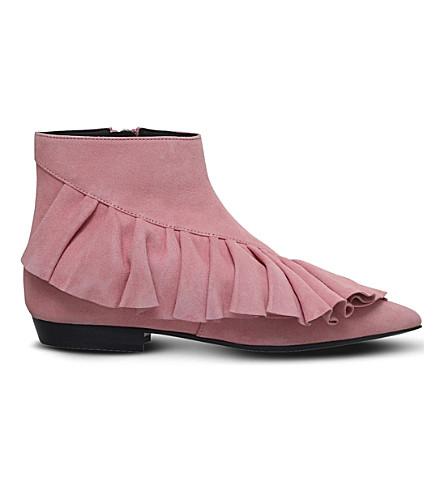 JW ANDERSON Ruffle suede booties (Pale pink