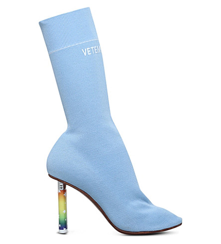 VETEMENTS Sock jersey heeled ankle boots (Pale+blue