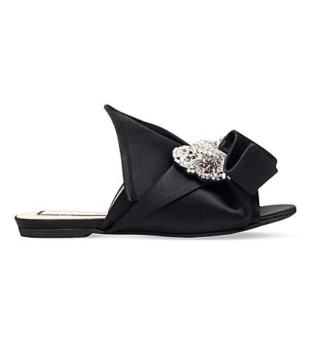 NO 21 Bow silk-satin slippers (Black