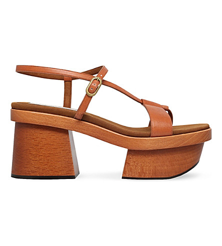 STELLA MCCARTNEY Altea faux-leather and wooden sandals (Tan