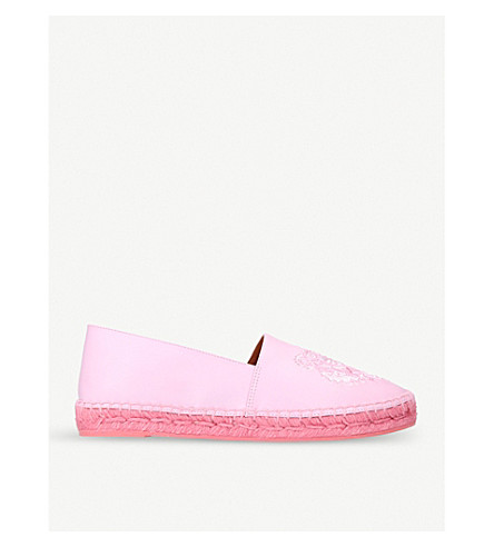 KENZO Tiger embroidered leather espadrilles (Fushia