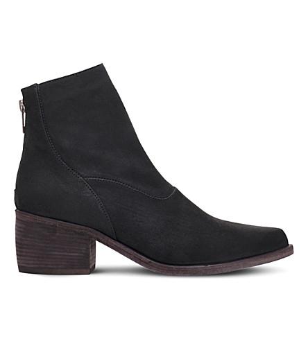 门皮革脚踝靴 (黑色