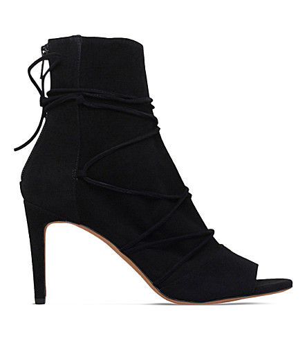 VINCE Adisa tie-up suede booties (Black