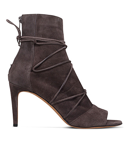 VINCE Adisa tie-up suede booties (Grey