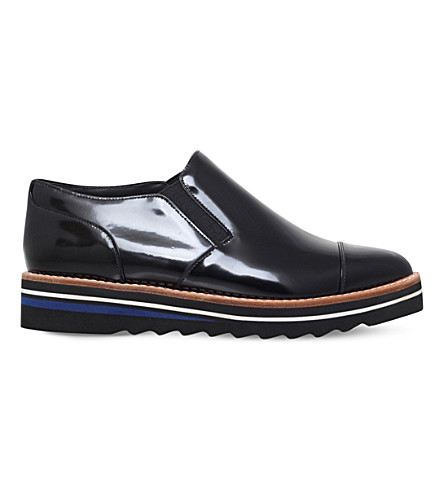 VINCE Alona patent-leather Oxford shoes (Black