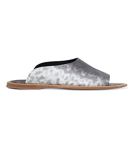 VINCE Lynnis lizard-print leather flat sandals (Grey/p.cmb