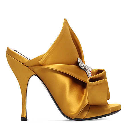 NO 21 Bow and cat-embellished satin mules (Mustard
