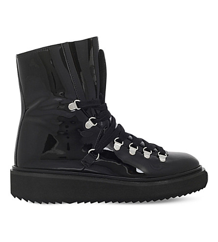 KENZO Platform patent-leather hiking boots (Black