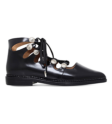TOGA PULLA Ghillie leather ankle boots (Black