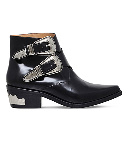 TOGA PULLA Double buckle leather ankle boots (Black