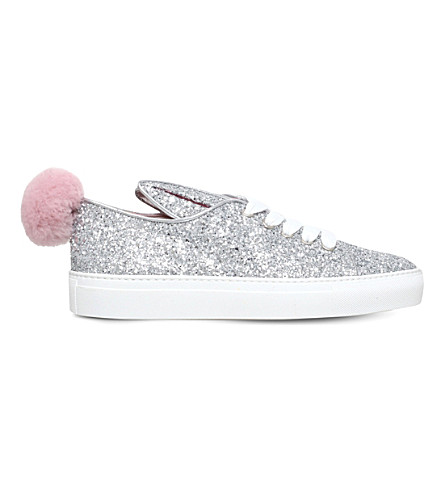 MINNA PARIKKA Glitter-embellished leather trainers (Silver