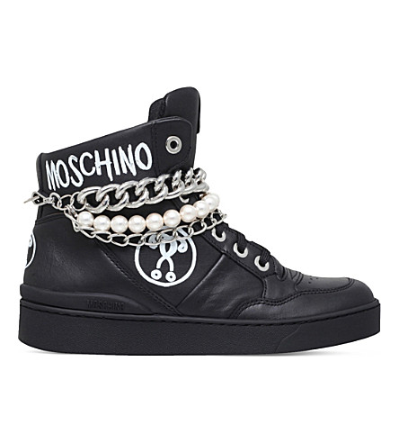 MOSCHINO Pearl and chain leather trainers (Black