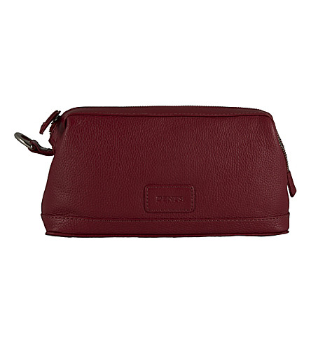 DENTS Leather zip top wash bag (Berry