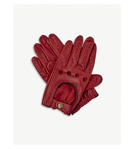 DENTS Leather driving gloves (Berry/black
