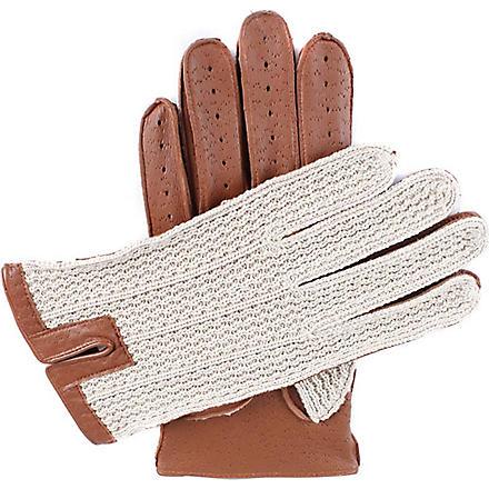 DENTS Crochet back driving gloves (Cognac