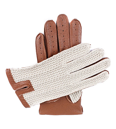 DENTS Lancaster crochet and leather driving gloves (Cognac